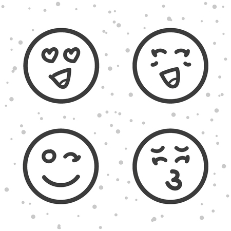 Love Smiley Icons Kiss And Love Emoticons Symbols Royalty Free