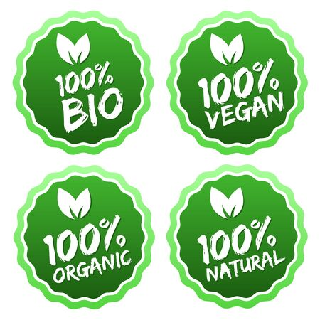 Flat label collection of 100% organic product and premium quality natural food. Eps10.