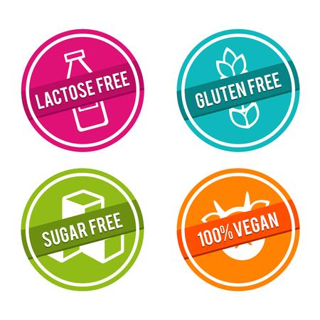 Set di badge gratis allergeni. Senza lattosio, senza glutine, senza zucchero, 100% vegano. Segni disegnati a mano di vettore. Può essere utilizzato per il packaging design.