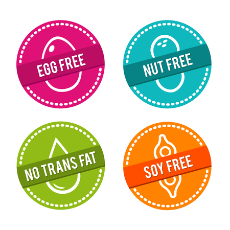 Set of Allergen free Badges. Egg free, Nut free, No Trans Fat, Soy free. Vector hand drawn Signs. Can be used for packaging Design.