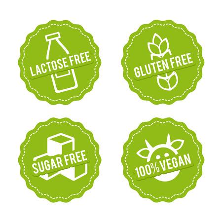 Conjunto de insignias libres de alérgenos. Sin lactosa, sin gluten, sin azúcar, 100% vegano. Vector dibujado a mano signos. Puede ser utilizado para el diseño de envases.