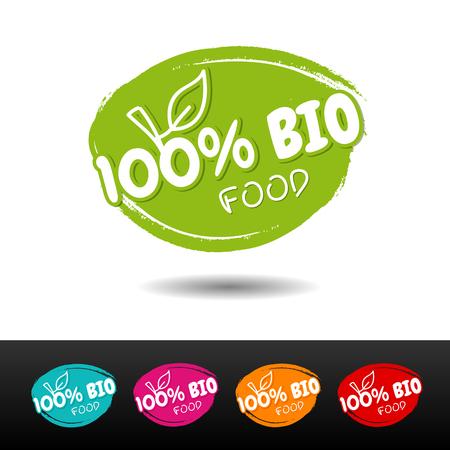 Set of 100% Bio food badges. Vector hand drawn labels.  Illustration
