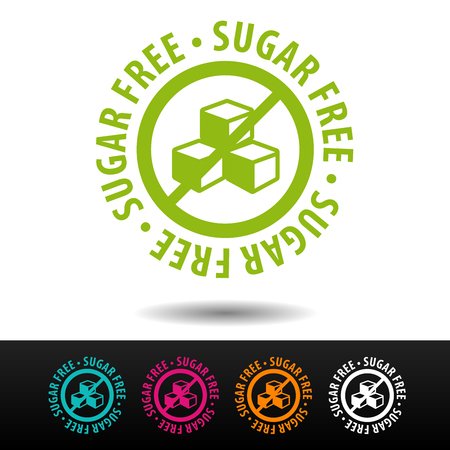 Sugar free badge, logo, icon. Flat vector illustration on white background. Can be used business company.
