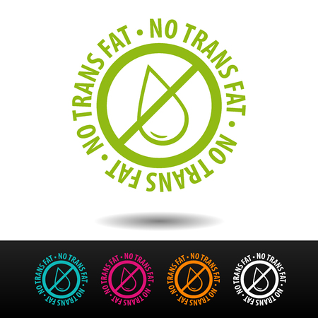 No trans fat badge, logo, icon. Flat vector illustration on white background. Can be used business company. Vettoriali
