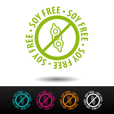 Soy free badge, logo, icon. Flat vector illustration on white background. Can be used business company. Illustration
