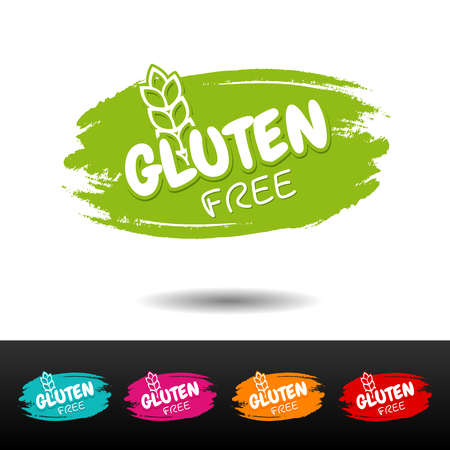 Set of Gluten free badges. Vector hand drawn labels.
