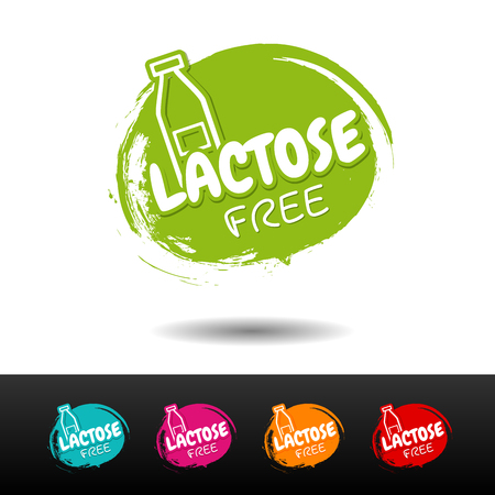 Set of Lactose free badges. Vector hand drawn labels.  Illustration