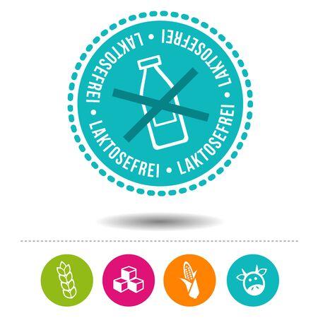 Laktosefrei Siegel und Ernährung Icons.