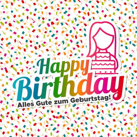 Happy Birthday Alles Gute Zum Geburtstag Text On Colored