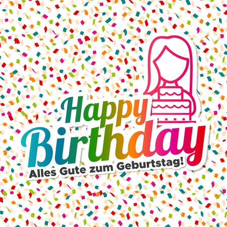 Happy Birthday - Alles Gute zum Geburtstag text on colored confetti background with girl and cake. Vector illustration. Illustration