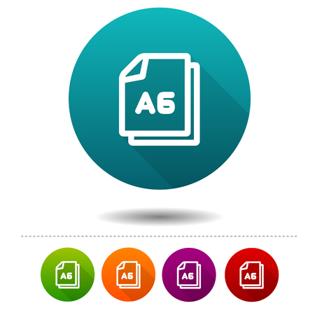 Paper size A6 icon. Document DIN symbol sign. Web Button.