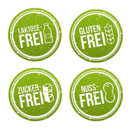 Laktosefrei, Glutenfrei, Zuckerfrei und Nussfrei Banner Set.