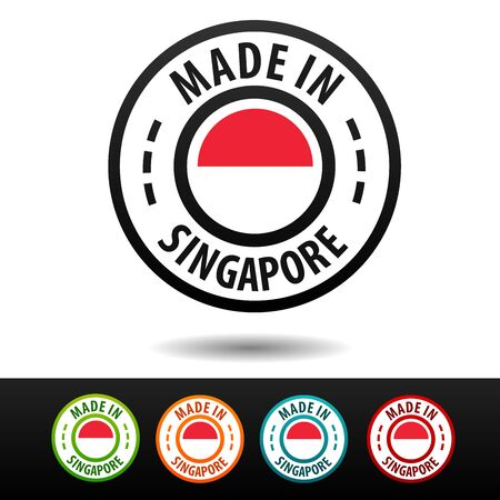 Made in Singapore badges with flag. Flat Eps10 Vector.