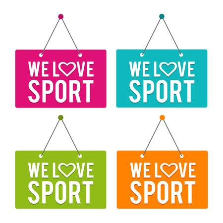We love Sport hanging Door Sign. Eps10 Vector.