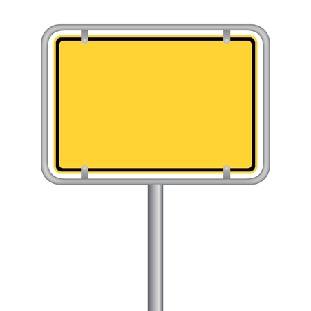 A yellow biklboard signage  isolated on plain background.