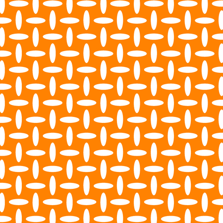 Geometric white and orange seamless vector pattern.