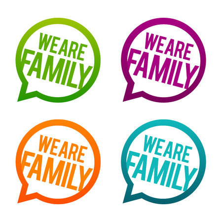 We are Family round Buttons. Circle Vector.