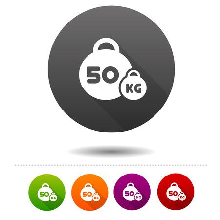 Weight icon. 50 kilogram sport symbol sign. Web Button.