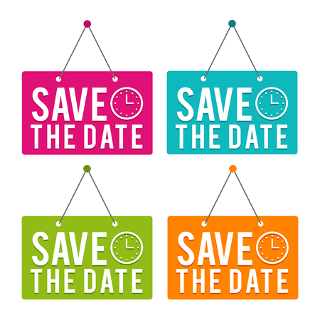 Save the Date with Icon hanging Door Sign. Vector Illustration