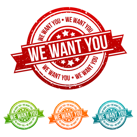 We want you Stamp -  Badges in different colours. Illustration