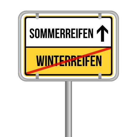 Sommerreifen statt Winterreifen Schild - Reifen wechseln Stock Illustratie