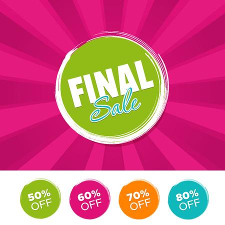 Final Sale color banner and 50%, 60%, 70% & 80% Off Marks. Vector illustration. Illusztráció