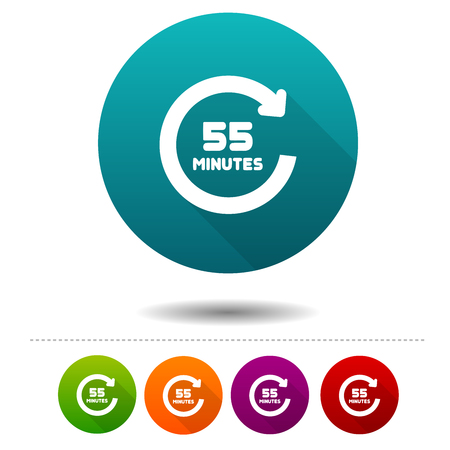 55 Minutes rotation icon. Timer symbol sign. Web Button illustration.