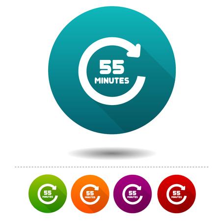 Icône de rotation de 55 minutes. Signe de symbole de minuterie. Illustration de bouton Web. Banque d'images - 98778253