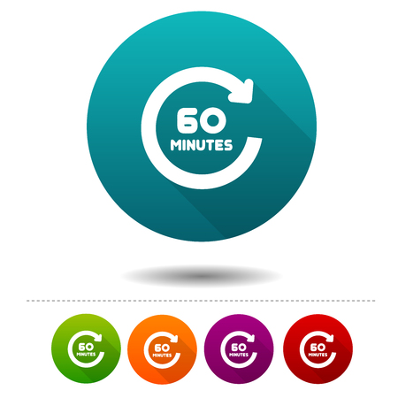 60 minutes icon in round various colors badge Illustration.
