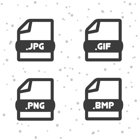 Image file icons of JPG, PNG, GIF and BMP symbol sign.
