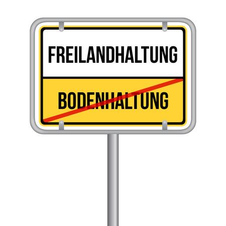 Eier aus Freilandhaltung Schild - Gegen Bodenhaltung -  Isoliert Vektor Eps10.