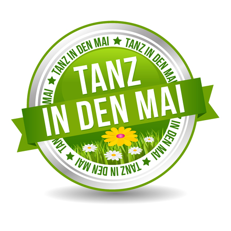 Tanz in den Mai Button mit Bumenwiese. Web Banner Button. Illustration