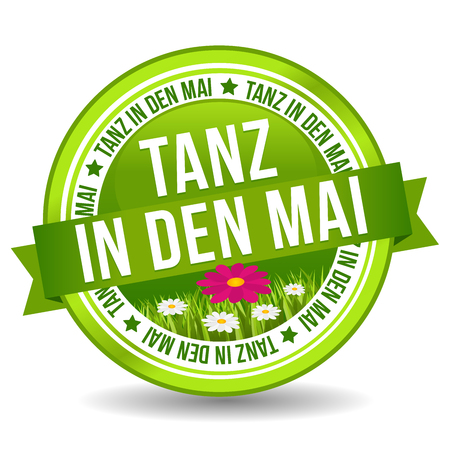 Tanz in den Mai Button mit Bumenwiese. Feiertag Web Banner Button.
