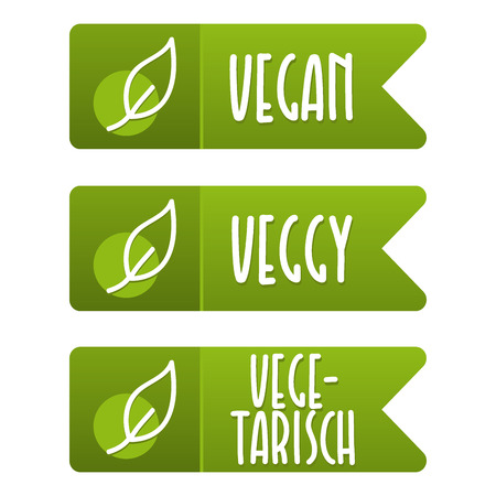 Vegan Label und Vegetarisch Banner Set.