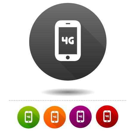 Icône de télécommunications mobiles. Signe de symbole 4G. Bouton Web. Vecteurs