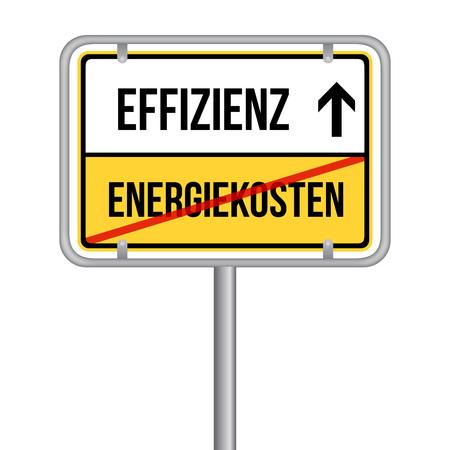 Energiekosten Effizienz Schild - Energie sparen. Ilustrace