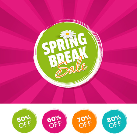 Spring break Sale color banner and 50%, 60%, 70% & 80% Off Marks. Vector illustration. Illustration