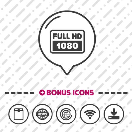 Full HD Screen icon. 1080p symbol.