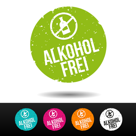 Alkoholfrei Stempel mit Icon. Illustration