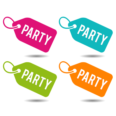 Party price Tags. Flat Eps10 Vector Illustration. Vettoriali