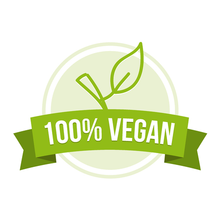 100% vegan emblem with green leaf icon.
