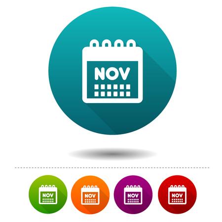 Month of November icon. Calendar symbol sign web button.