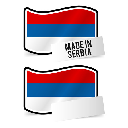 Made in Serbia Flag and white empty Paper. Çizim