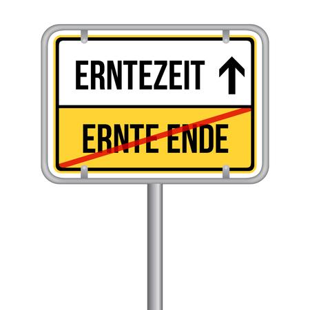 Beginn der Erntezeit Schild - Ende der Erntezeit -  Isoliert Vektor Eps10. Archivio Fotografico - 102848690