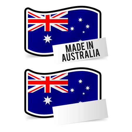 Made in Australia Flag and white empty Paper. Illustration