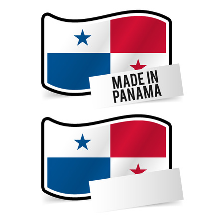 Made in Panama Flag and white empty Paper. Esp10 Vector.  イラスト・ベクター素材