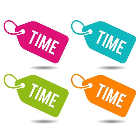 Time label. Flat Eps10 Vector Illustration. Stock Vector - 105597649