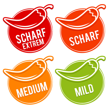 Chilli peppers scale mild, medium, hot and light - Chili Sharp scale mild, medium, hot, very spicy