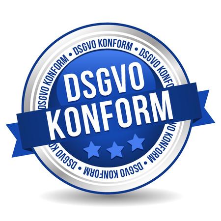 Bouton de règlement général sur la protection des données - Bannière de marketing de badge en ligne avec ruban. Traduction allemande: DSGVO Konform Vecteurs