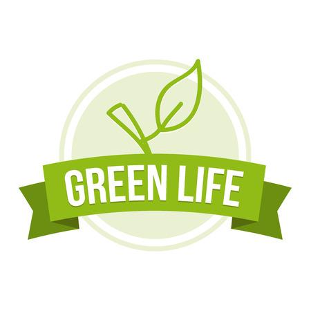 Green Life Badge Illustration